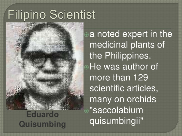 filipino and foreign chemists He has visited various laboratories abroad as research fellow or visiting  to her  peers and to the philippine chemistry community, elma is the gentle yet.