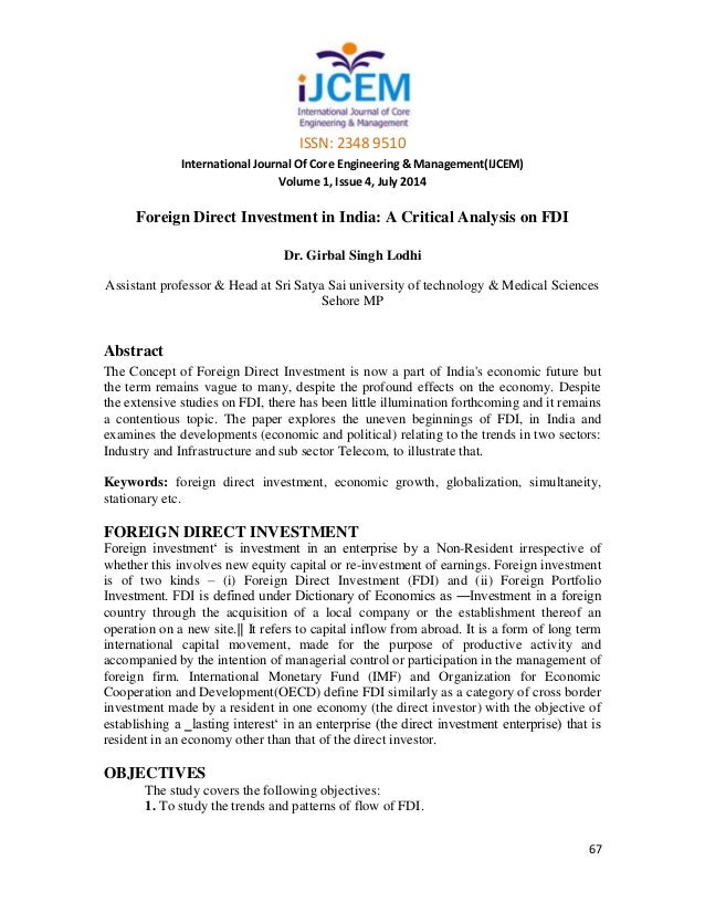 case study of fdi in india Research india publications   fdi & expectation of  the foreign investor:-a case study of commodity exchange y satguru roshan.