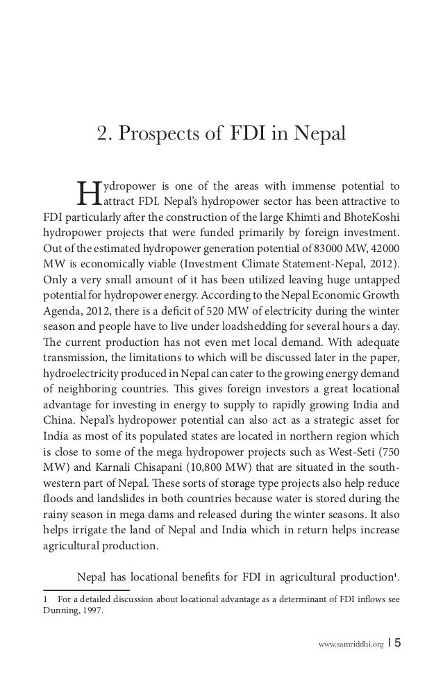 foreign direct investment in nepal Foreign investment in nepal is regulated and administered by the foreign investment and technology transfer act and industrial enterprises act the department of industries (doi) is the sole agency for administration and implementation of the foreign investment and technology transfer act in nepal.