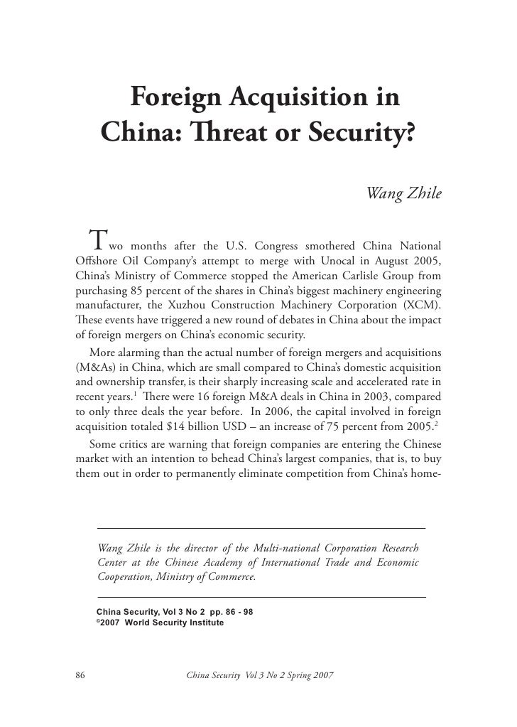 Foreign Acquisition in      China: Threat or Security?                                                                  Wa...