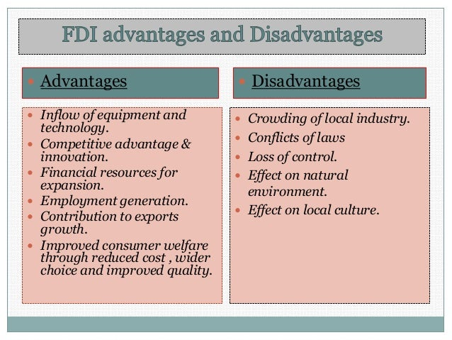 Foreign direct investment advantages and disadvantages ppt presentation development of investment bank in malaysia