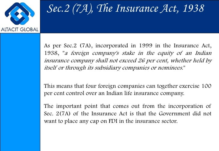 Effect of increase in Foreign Direct Investment in Insurance sector