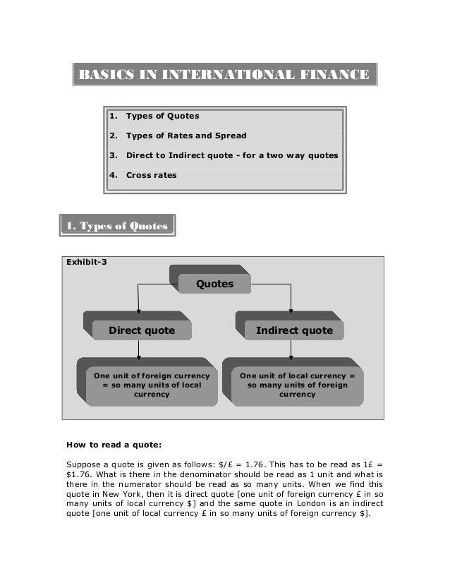 BASICS IN INTERNATIONAL FINANCE 1. Types of Quotes 2. Types of Rates and Spread 3. Direct to Indirect quote - for a two wa...