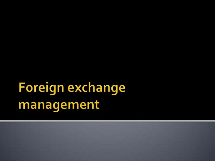 Foreign exchange management<br />