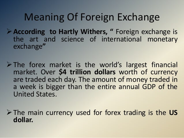 Meaning and definition of forex market