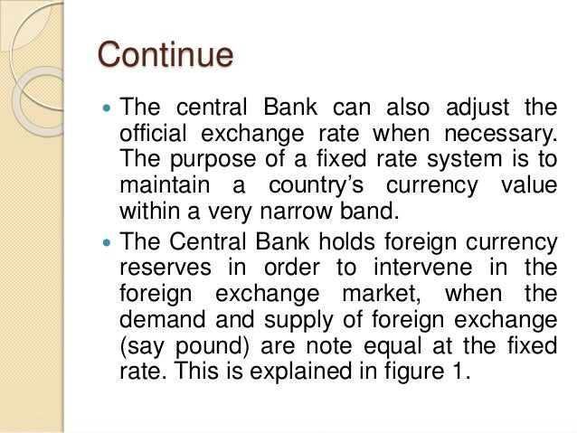 Continue  The central Bank can also adjust the official exchange rate when necessary. The purpose of a fixed rate system ...