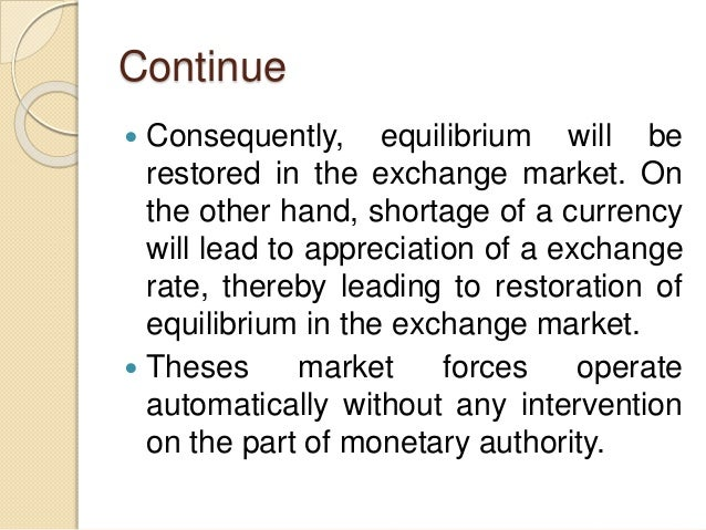 Continue  Consequently, equilibrium will be restored in the exchange market. On the other hand, shortage of a currency wi...