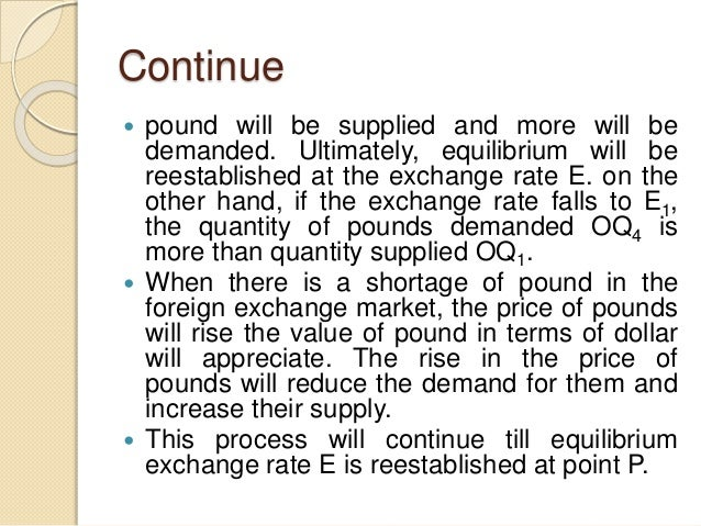 Continue  pound will be supplied and more will be demanded. Ultimately, equilibrium will be reestablished at the exchange...