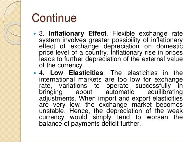 Continue  3. Inflationary Effect. Flexible exchange rate system involves greater possibility of inflationary effect of ex...