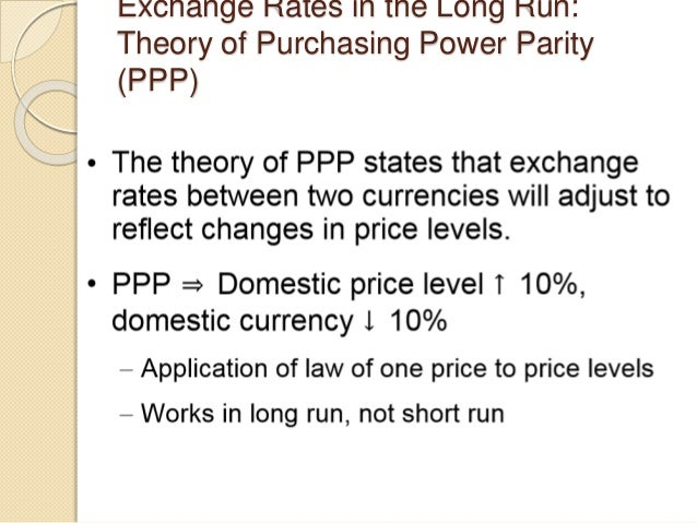 Exchange Rates in the Long Run: Theory of Purchasing Power Parity (PPP)