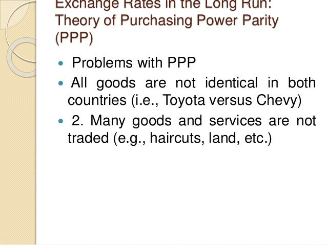 Exchange Rates in the Long Run: Theory of Purchasing Power Parity (PPP)  Problems with PPP  All goods are not identical ...