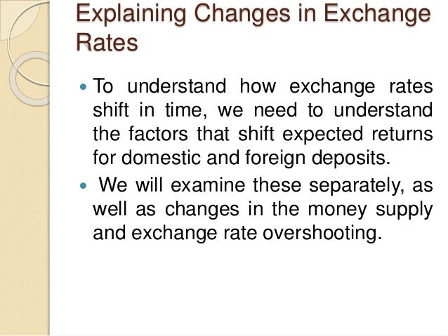 Explaining Changes in Exchange Rates  To understand how exchange rates shift in time, we need to understand the factors t...