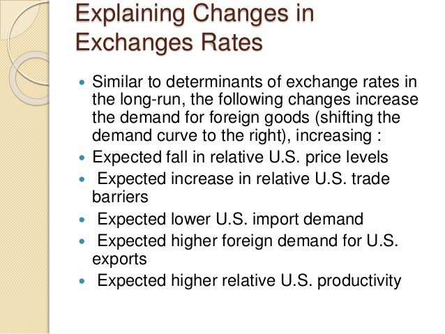 Explaining Changes in Exchanges Rates  Similar to determinants of exchange rates in the long-run, the following changes i...