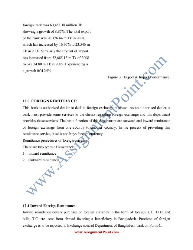 a report on foreign exchange of Internship reporton overall performance evaluation of foreign exchange operations : a study on janata bank ltd supervised by.