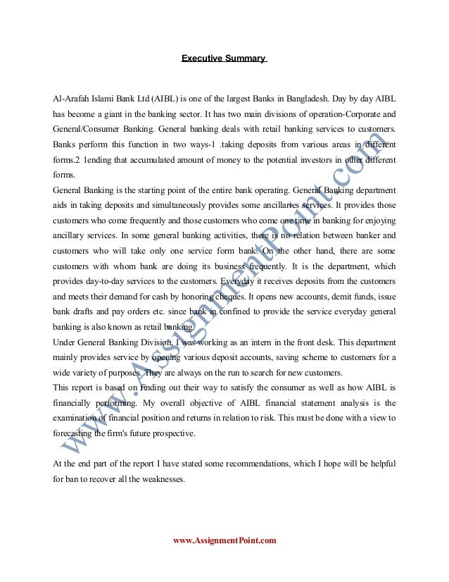 internship report on al arafah islami bank ltd bangladesh Term paper on islami bank limited term paper on islami bank limited 17265 words aug 4th, 2012 70 pages  internship report in janata bank limited  introduction this study is about investment management system of al-arafah islami bank limited (aibl), investments are operating by this bank with islami sharia formula as no interest payment.