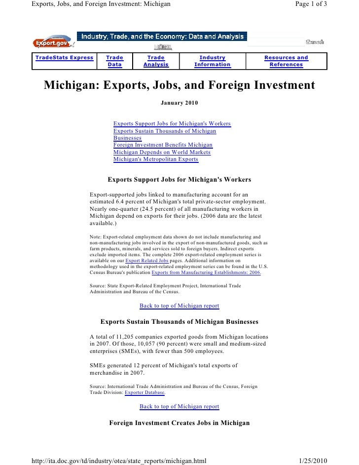 Exports, Jobs, and Foreign Investment: Michigan                                                             Page 1 of 3   ...