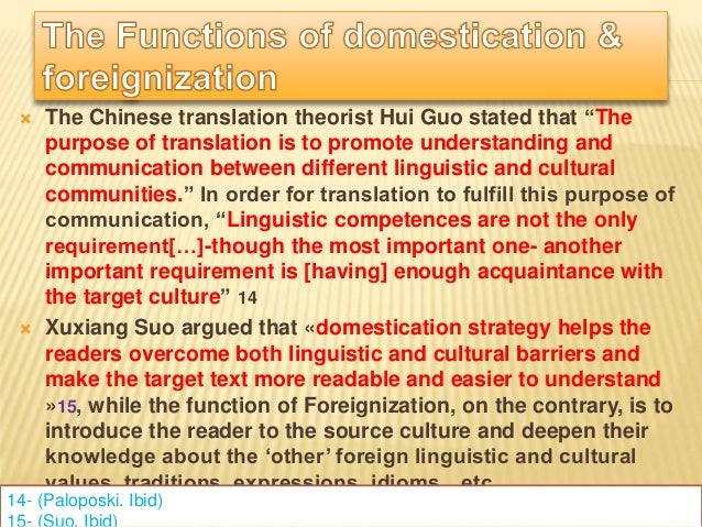 "domestication and foreignization in idiom translation essay Foreignization domestication was used in very few examples, and only when it was however, in his essay ""on linguistic aspects of translation"" (1959)."