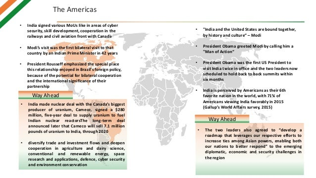 The Americas • India signed various MoUs like in areas of cyber security, skill development, cooperation in the railways a...