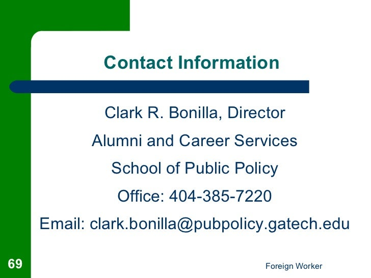 Foreign student to worker workshop - Office of international education gatech ...
