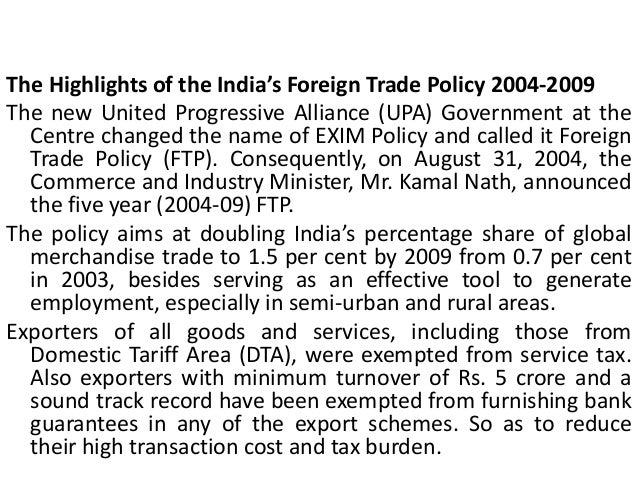 foreign trade policy of india Foreign trade policy [1 st april, 2015 31 st march, 2020] government of india ministry of commerce and industry department of commerce.