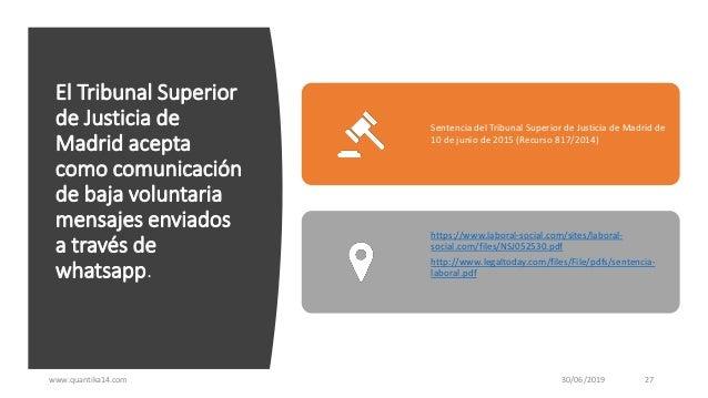 El Tribunal Superior de Justicia de Madrid acepta como comunicación de baja voluntaria mensajes enviados a través de whats...