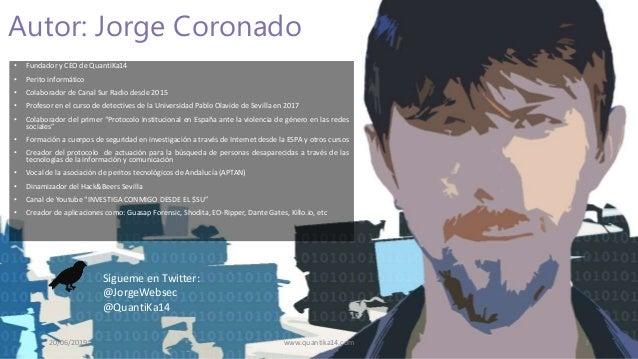 www.quantika14.com Autor: Jorge Coronado 20/06/2019 3 • Fundador y CEO de QuantiKa14 • Perito informático • Colaborador de...