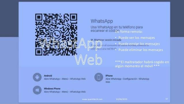 De forma remota: • Puede ver los mensajes • Puede enviar los mensajes • Puede eliminar los mensajes ***El maltratador habr...