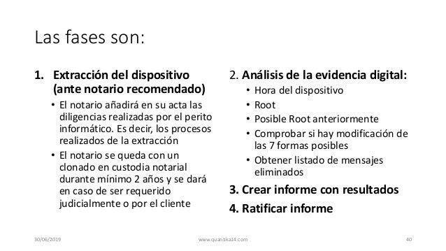 Las fases son: 1. Extracción del dispositivo (ante notario recomendado) • El notario añadirá en su acta las diligencias re...