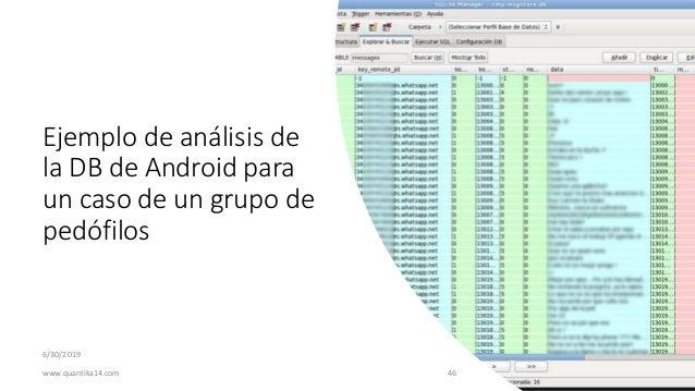 Ejemplo de análisis de la DB de Android para un caso de un grupo de pedófilos 6/30/2019 www.quantika14.com 46