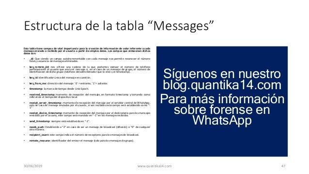 """Estructura de la tabla """"Messages"""" Esta tabla tiene campos de vital importancia para la creación de información de valor re..."""