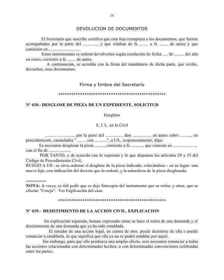 Formato de escrito de desistimiento de la demanda de for Formulario desistimiento