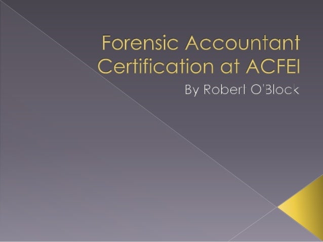 Forensic Accountant Certification at ACFEI