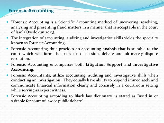 method of forensic accounting Chapter 6 indirect methods of reconstructing income  58 forensic and investigative accounting  forensic accountants may use these methods under appropriate .