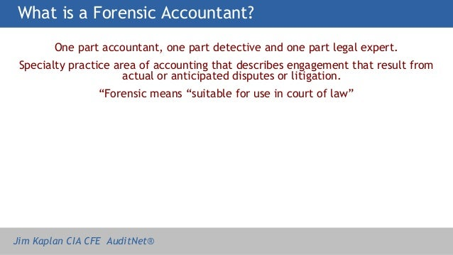 the first forensic accountant Forensic investigation is a part of a forensic accounting engagement forensic investigation is the process of gathering the first step would be a detailed.