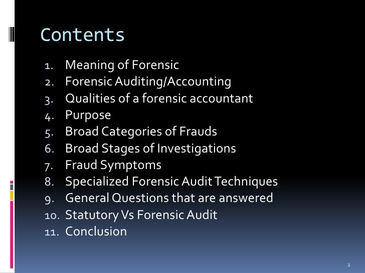 types of forensic audit