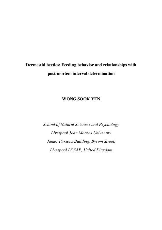 Dermestid beetles: Feeding behavior and relationships with           post-mortem interval determination                   ...