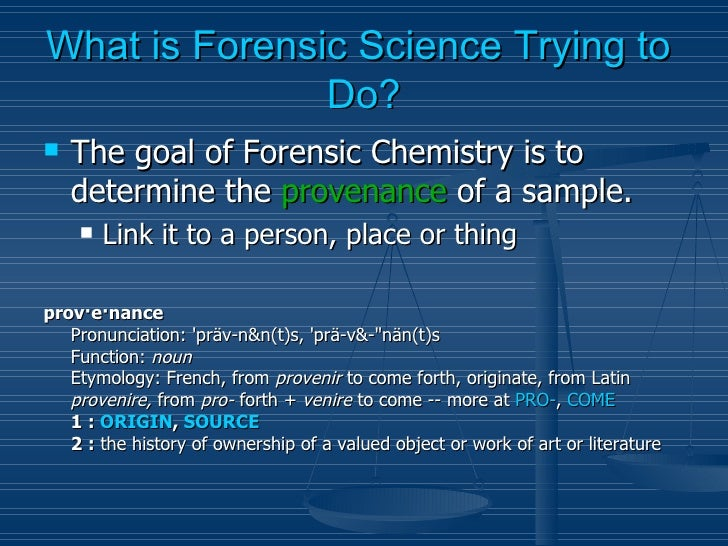 Forensic Chemistry Introduction