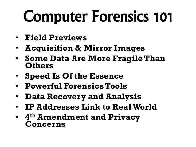 Forensic Computer Techniques