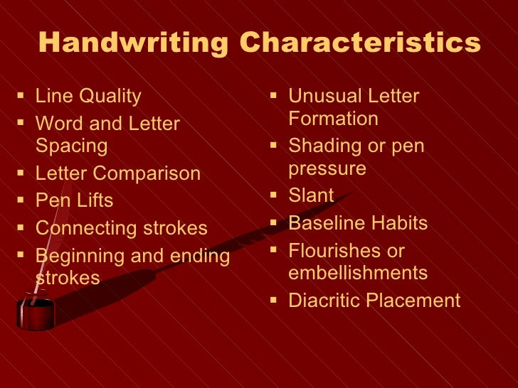 line quality in handwriting analysis