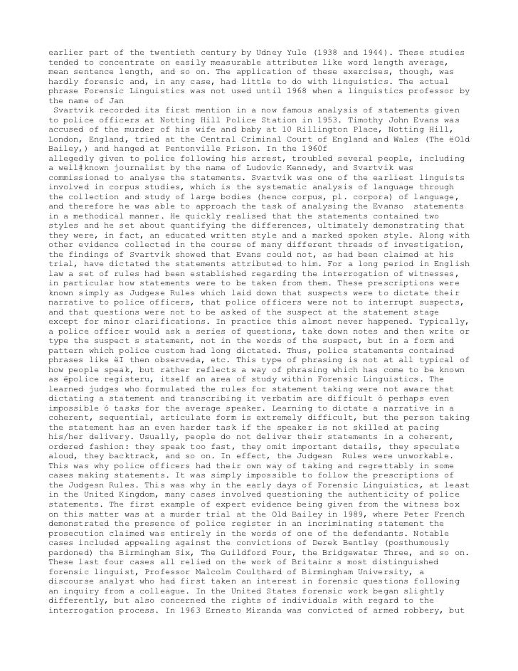Forensic Linguistic Corpus