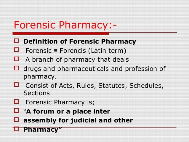 Forensic Pharmacy Pharmaceutical Jurisprudence