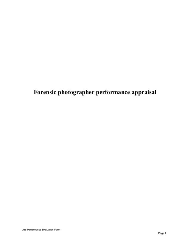 Forensic Photographer Performance Appraisal Job Evaluation Form Page 1