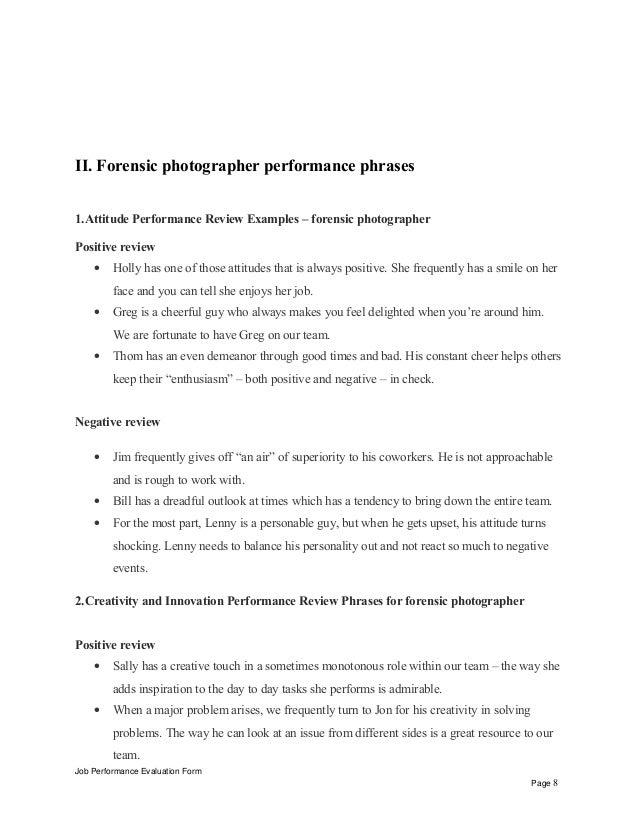 Job Performance Evaluation Form Page 7 8 II Forensic Photographer