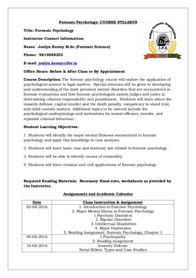 Forensic Psychology Training Course Syllabus