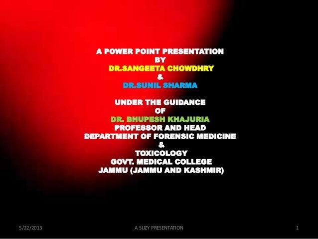 A POWER POINT PRESENTATIONBYDR.SANGEETA CHOWDHRY&DR.SUNIL SHARMAUNDER THE GUIDANCEOFDR. BHUPESH KHAJURIAPROFESSOR AND HEAD...