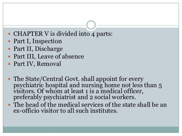 CHAPTER V is divided into 4 parts:  Part I, Inspection  Part II, Discharge  Part III, Leave of absence  Part IV, Rem...