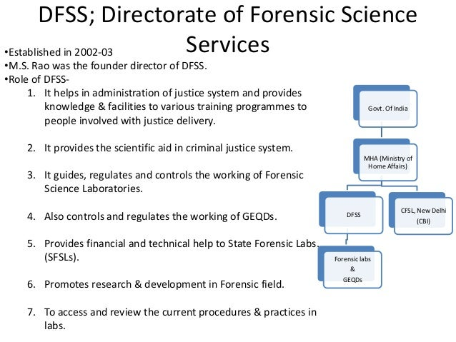 DFSS; Directorate of Forensic Science Services Govt. Of India MHA (Ministry of Home Affairs) DFSS Forensic labs & GEQDs CF...