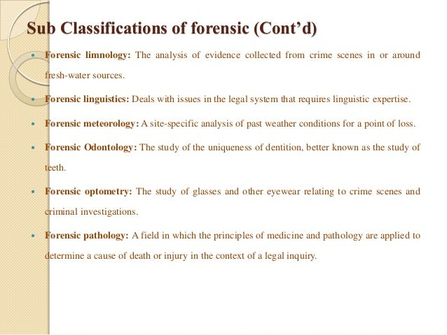 Forensic science as a basis for forensic investigation