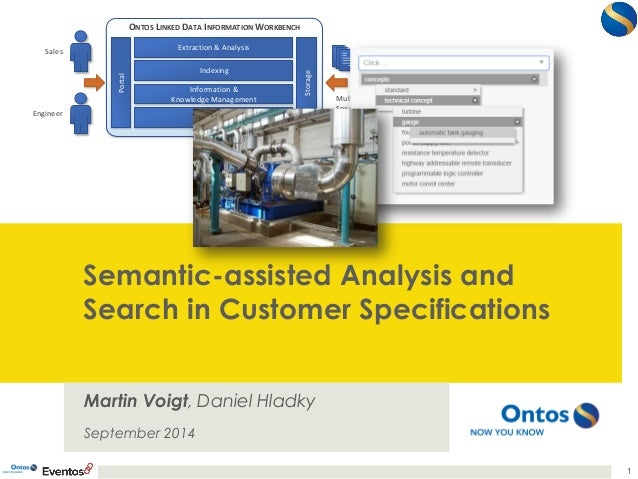 Semantic-assisted Analysis and  Search in Customer Specifications  Martin Voigt, Daniel Hladky  September 2014  1  ONTOS L...
