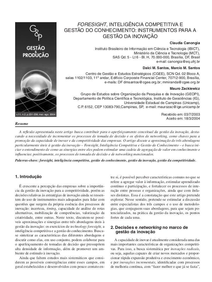 FORESIGHT, INTELIGÊNCIA COMPETITIVA E                                       GESTÃO DO CONHECIMENTO: INSTRUMENTOS PARA A   ...